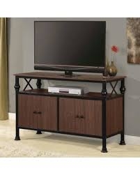 Home Source TV12364 48 Inch Wide Metal Framed Wood TV Stand Mocha Inch Wide Tv Stand I21
