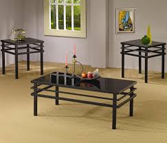 black tinted glass top coffee table with iron legs of dazzling and end tables