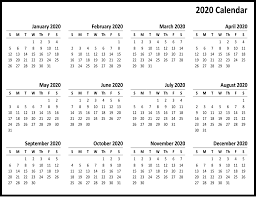 2020 Printable Calendar Yearly Free Yearly 2020 Printable Calendar Templates Pdf Word