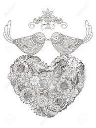 ロマンチックな鳥夫婦の心と形花 大人のぬりえ