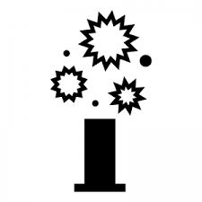 噴出花火のシルエット 無料のaipng白黒シルエットイラスト