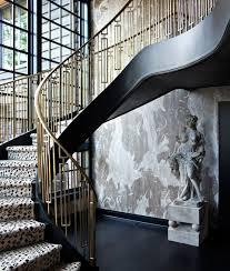 mid century style geometric iron railing