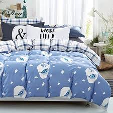 oroa cartoon cute animal snow brids leaf print duvet cover twin size cotton 100 percent for