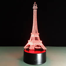 new year 2018 decorations for home 3d illusion eiffel tower table decorations led desk lamp