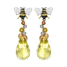 theo fennell bee blossom earrings in yellow white and rose gold with yellow beryl