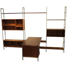 walnut modular wall shelving system with desk by paul mccobb for h sacks for