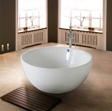 bathroom tub designs. Bewitching Free Standing Bath Tub In Circle Shape Design White Also Chrome Faucet Bathroom Designs