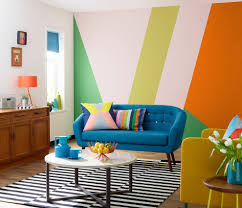 ... Trendy Living Room Photo In Other With Multicolored Walls: Beautiful  Wall Paint Ideas ...