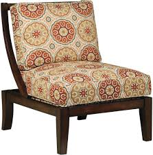 casual and vintage wood accent chair with red and brown cushion