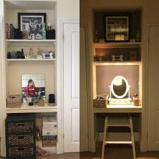 Dressing table lighting ideas Ikea Transformed Small Alcove In Between Wardrobes To Make Dressing Table Lighting Idea Pinterest Transformed Small Alcove In Between Wardrobes To Make Dressing