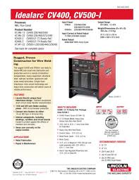 idealarc® cv400 mig welder lincoln electric pdf catalogue idealarc® cv400 mig welder