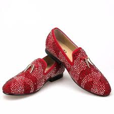 <b>Crystal Men Loafers Shoes</b> with Gold Shark Tooth Tassel - FanFreakz