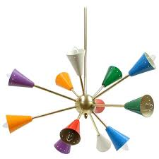 1950s italian multi color sputnik chandelier in the manner of stilnovo for