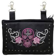 las leather pink sugar skull purse