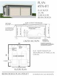 Two Car Garage With Flat Roof Plan 576-1FT 24' x 24' by