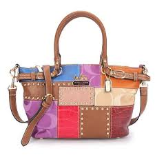 Stylish Coach Holiday Kelsey In Signature Medium Brown Multi Satchels Ebo  Online aqjp0