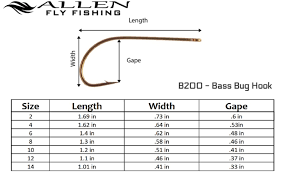 Fly Tying Hook Chart B200 Bass Bug Hook