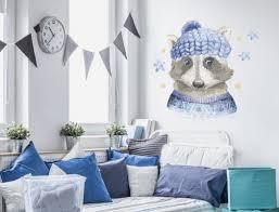 Jugendzimmer Wandtattoo Mit Aquarell Waschbär In Farbe I Love