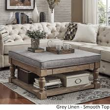 Lennon Baluster Pine Storage Tufted Cocktail Ottoman by TRIBECCA HOME by  INSPIRE Q
