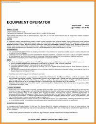 Equipment Operator Resume Resume For Heavy Equipment Operator Bio Letter Format 21