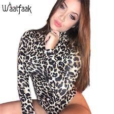 Realpopu Knitted <b>Leopard</b> Printed Jumpsuit <b>Women Turtleneck</b> ...