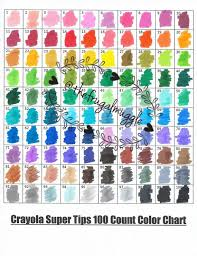 Crayola Supertips 50 Color Chart Crayola 100ct Super Tips Color Swatch Page Color Swatches