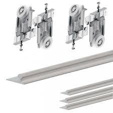 picture of fastor sliding door gear wardrobe track kit system rails for sliding wardrobe doors