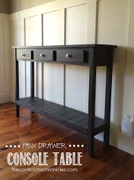 hall entrance furniture. faux drawer farmhouse console table spencer and amanda jones of the contractor chronicles built this hall entrance furniture