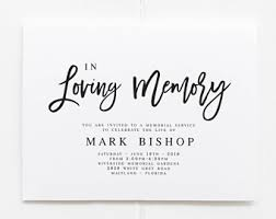 memorial service invitation mourning invitation etsy