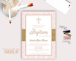 Catholic Baptism Invitations Damask Baptism Invitation Girl Christening Catholic Baptism Pink
