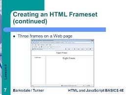 creating an html frameset continued