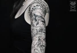 татуировка рукав у девушки сова фото рисунки эскизы