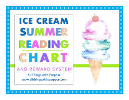 Summer Reading Incentive Chart Ice Cream Summer Reading Chart And Reward System