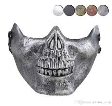 cs mask carnival gift scary skull skeleton paintball lower half face facemask warriors protective mask for party masks masquerade dresses