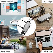 Buy SSK 11 in 1 Laptop Docking Station with Dual Monitors, USB C Dock  MacBook Pro HDMI Multiport Adapter Hub with Ethernet,VGA,PD3.0  Powered,4USB,SD/TF CR for MacBook Air(Thunderbolt 3) Type C Devices Online