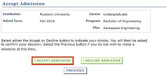 how to accept an admissions offer   ramss support   ryerson universityaccept decline page   program details and buttons to accept or decline offer