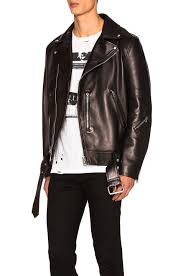 image 3 of acne studios nate clean leather jacket in black