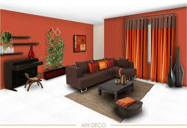 living room furniture decorating ideas. Superb Living Room Color Schemes Piano Chair Decor With Lounge Brown Sofa Chaise Wood Table Large Ceramics Floor Plant On Red Wall Ideas Plus Curtains Furniture Decorating