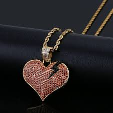 whole 18k gold plated full diamond cz cublic zirconia lightning red heart pendant necklace hip hop punk rock jewelry for men and women whole heart