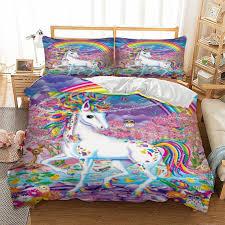 unicorn bedding set rainbow duvet cover pillow cases twin full queen king uk double au single size cartoon bedclothes comforter set king white duvet sets