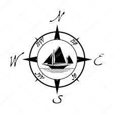 Yacht T Shirt Designs Flat Yacht Icon With Compass Boat Logo With Water On White
