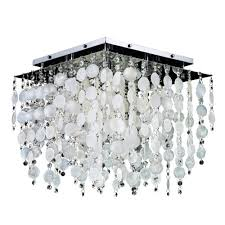 glow lighting cityscape capiz shell and crystal chrome 18 inch five light flush mount