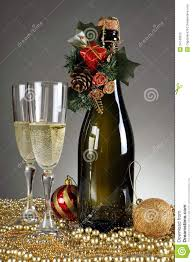Champagne Bottle Decoration Christmas Decorations And A Champagne Bottle Stock Photos Image