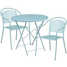 30 round sky blue indoor outdoor steel folding patio table set with 2 round back chairs