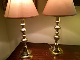 pair victorian table lamps solid english brass