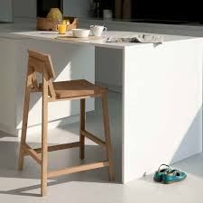 furniture light brown wooden kitchen bar stool with low back and footrest also wooden legs