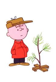 Charlie Brown with his tree in A Charlie Brown Christmas.