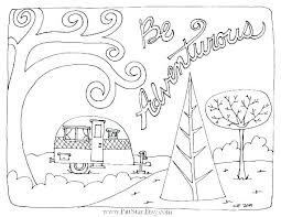 Camper Trailer Coloring Pages Camping Travel Page Free Ca Thinkiqco