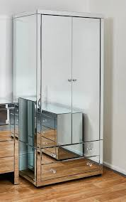 venetian glass mirror wardrobe with 2 drawers