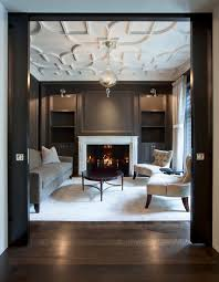 Salon with Custom Plaster Ceiling traditional-living-room